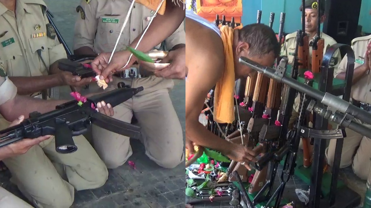 In Pictures: Tripura State Rifles men celebrate Vishwakarma Puja by worshipping rifles and guns