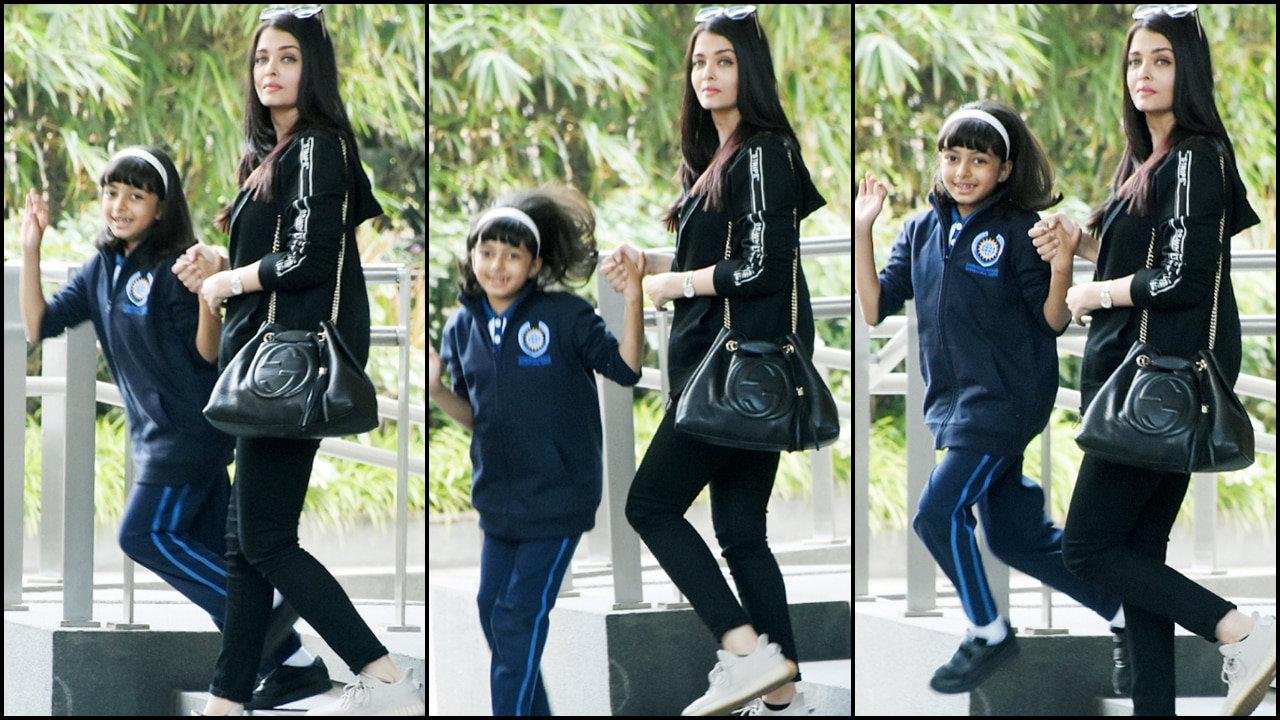 Photos: Aaradhya Bachchan hops, skips and jumps on getting clicked with mom Aishwarya Rai Bachchan