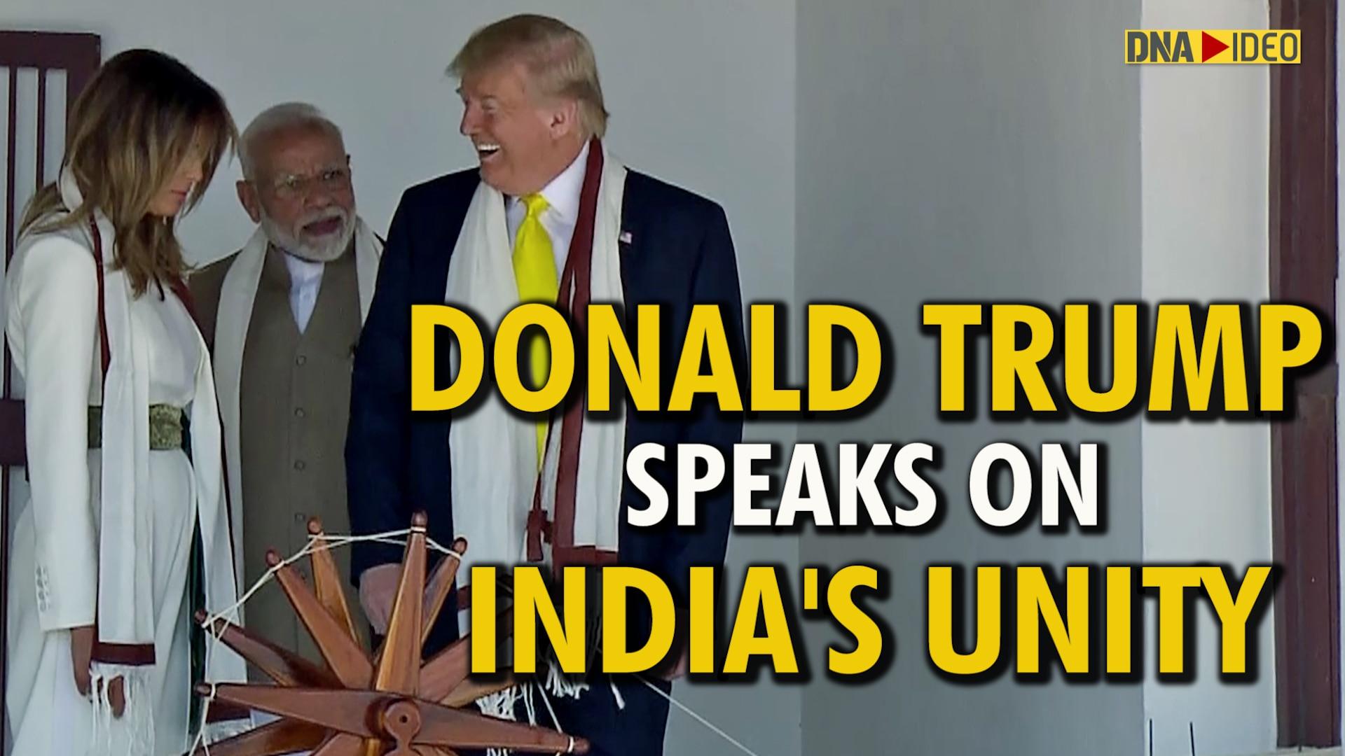 Watch US President Donald Trump speaking about Swami Vivekananda, India's Unity, Chandrayaan 2