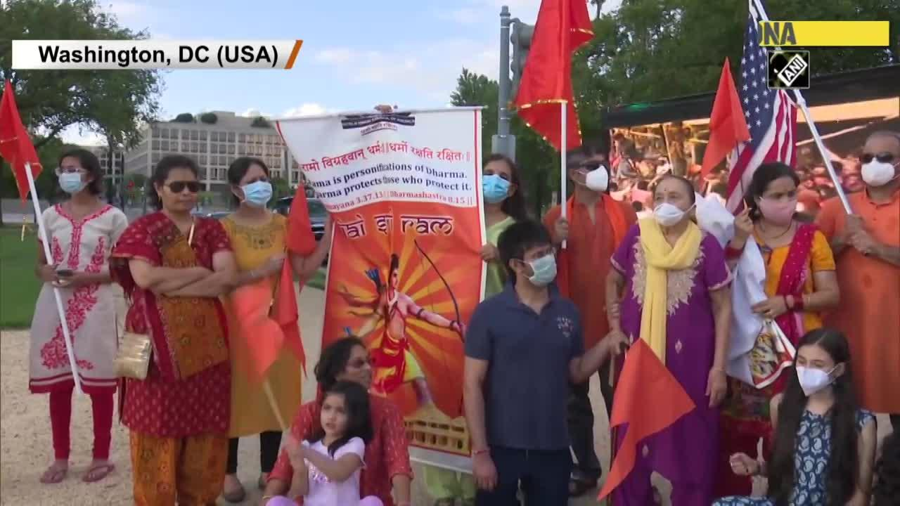Ram Temple Bhoomi Pujan: Indian community celebrates outside Capitol Hill in Washington DC