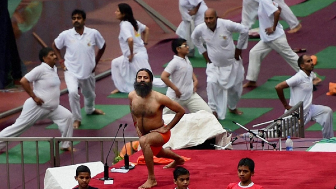 International Yoga Day Swami Ramdev Holds Preparatory Session