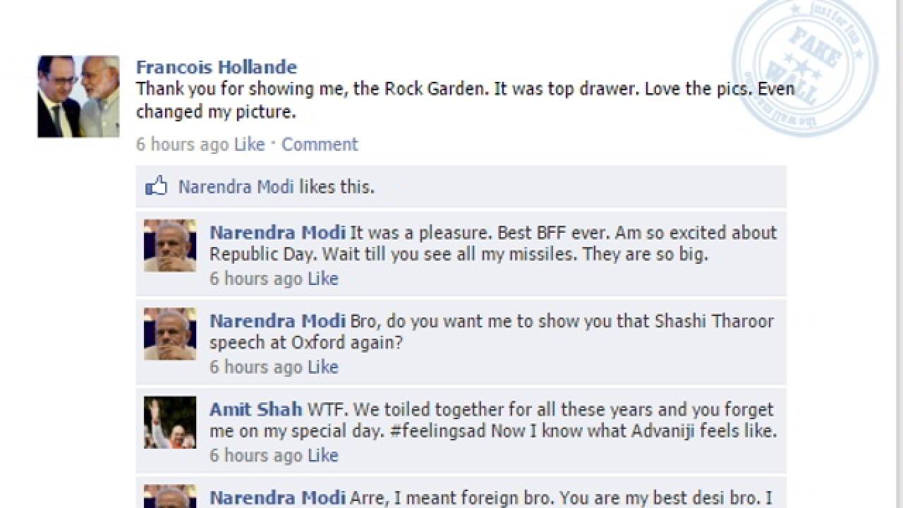 Fake Facebook Wall: Narendra Modi and Francois Hollande go