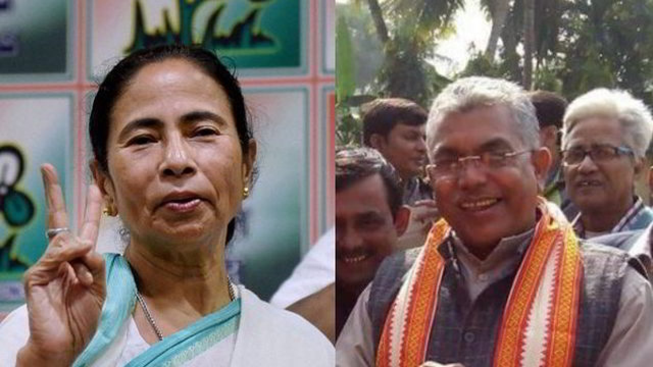 Image result for mamta banerjee vs dilip ghosh