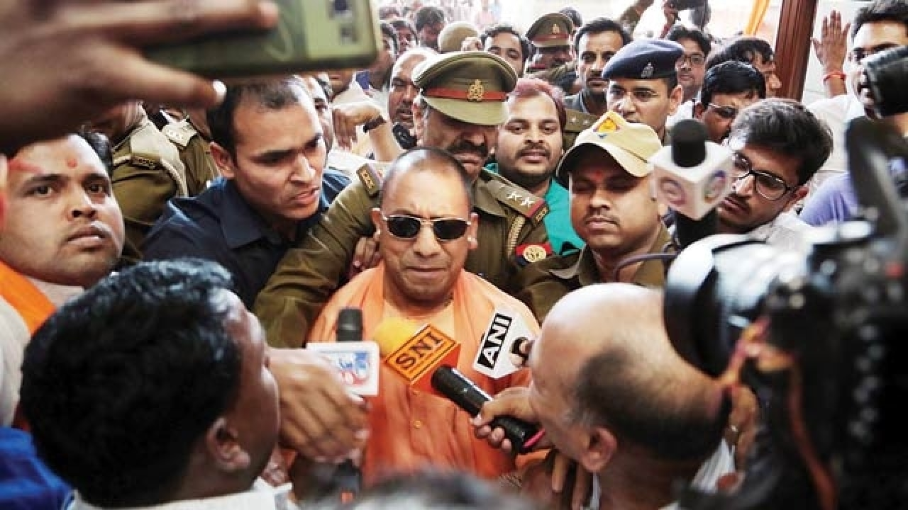 Image result for CM Yogi Adityanath with UP Police