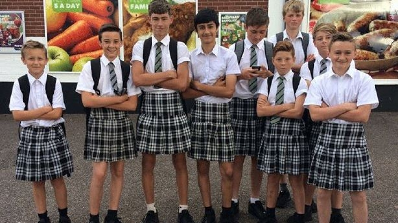 3e5cea5d4 Time to dress up: UK schoolboys wear skirts after school bans shorts