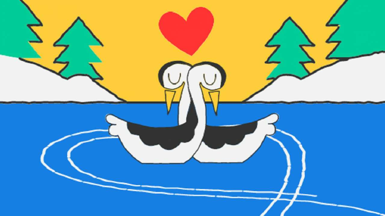 google doodle marks valentine s day with grebes figure skating on