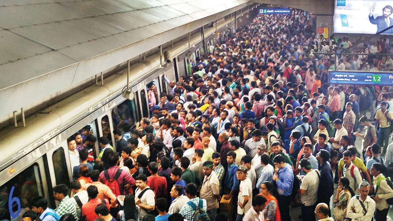 Image result for delhi metro crowded
