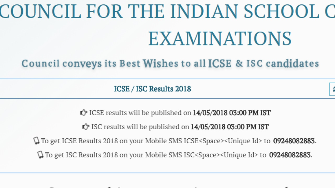 ICSE Class 10th Results 2018: Results to be declared today at 3pm