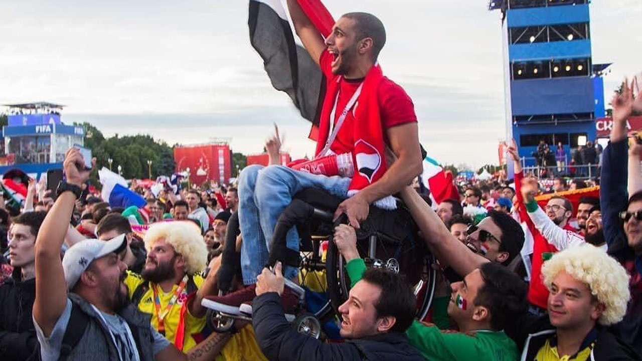 Spirit Of Football Mexican Colombian Supporters Hoist Wheelchair Bound Egypt Fan At Russia World Cup