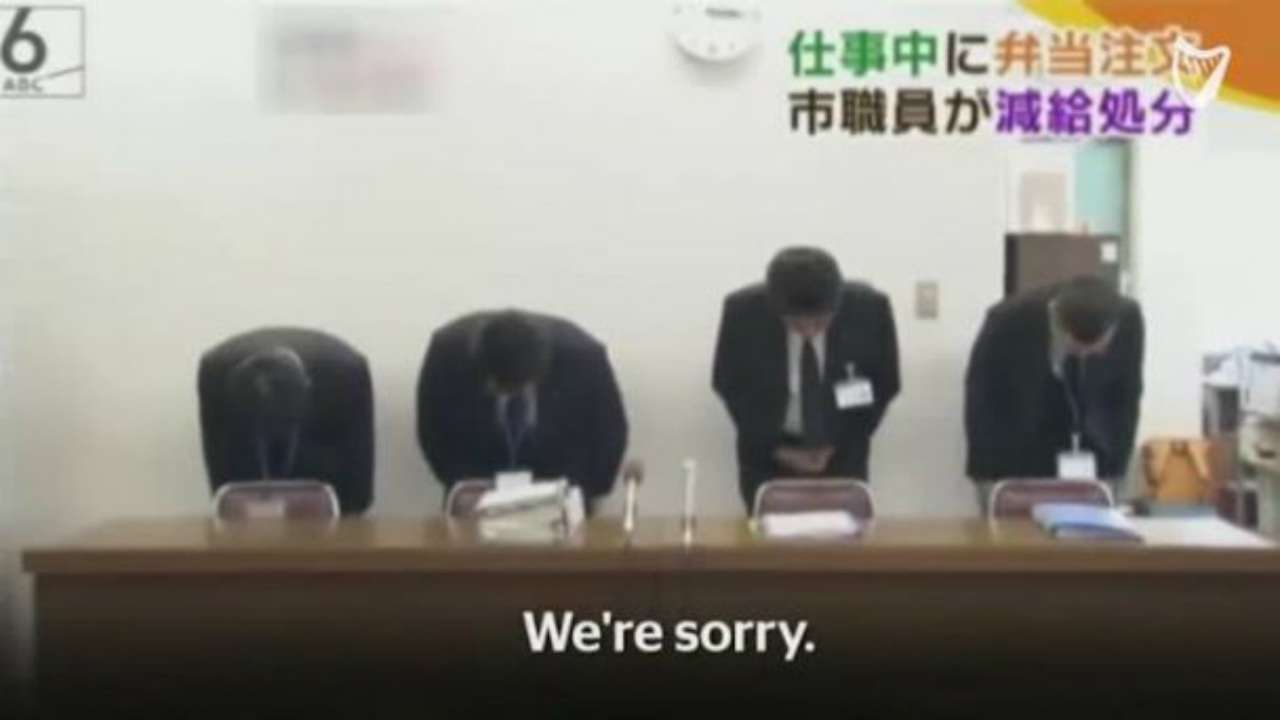 Watch: Officials in Japan's Kobe city apologise on national TV for worker who took lunch break 3 minutes early