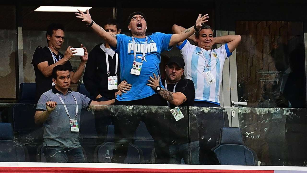 Watch Diego Maradona Goes Bonkers During Argentina S Win Vs Nigeria Requires Medical Assistance