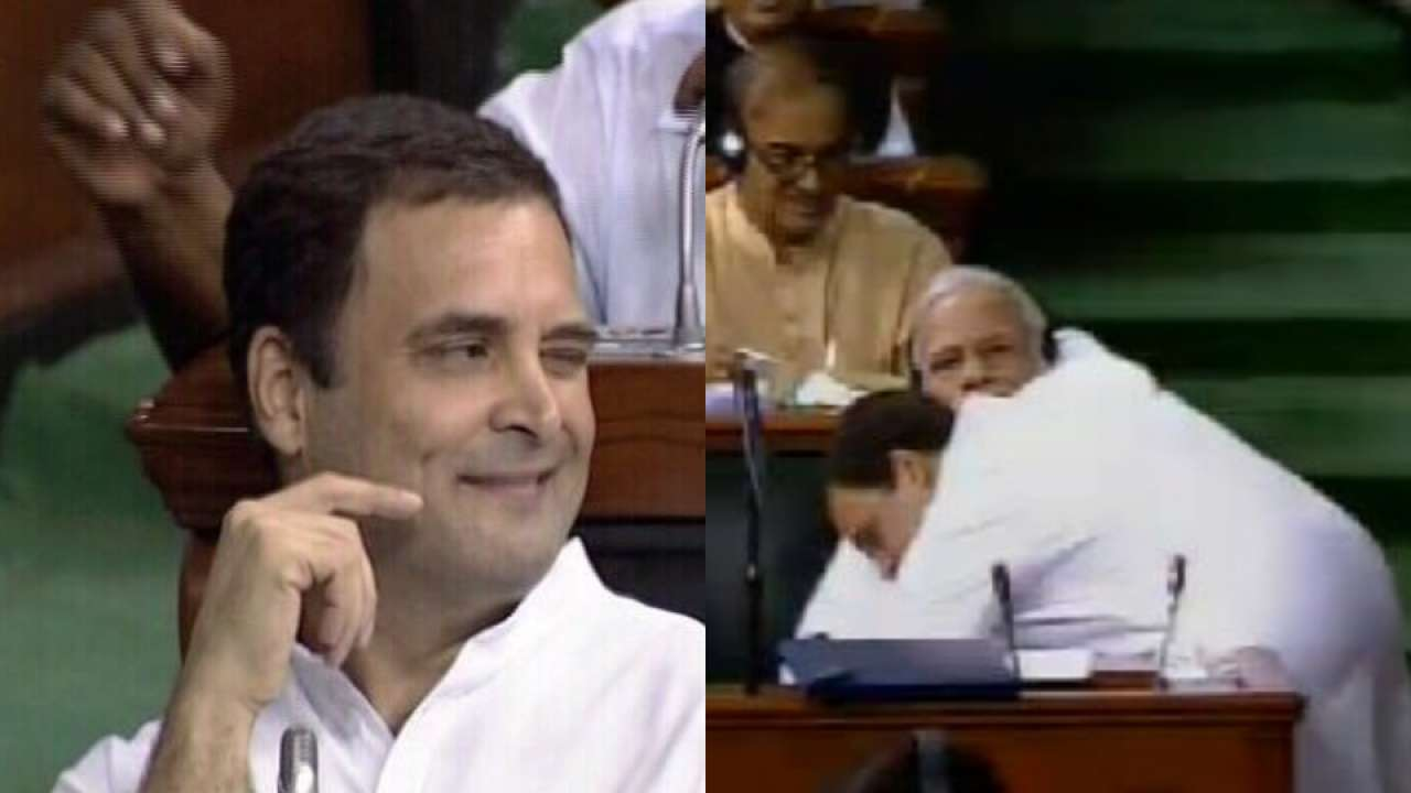 Image result for rahul hugging modi and winking