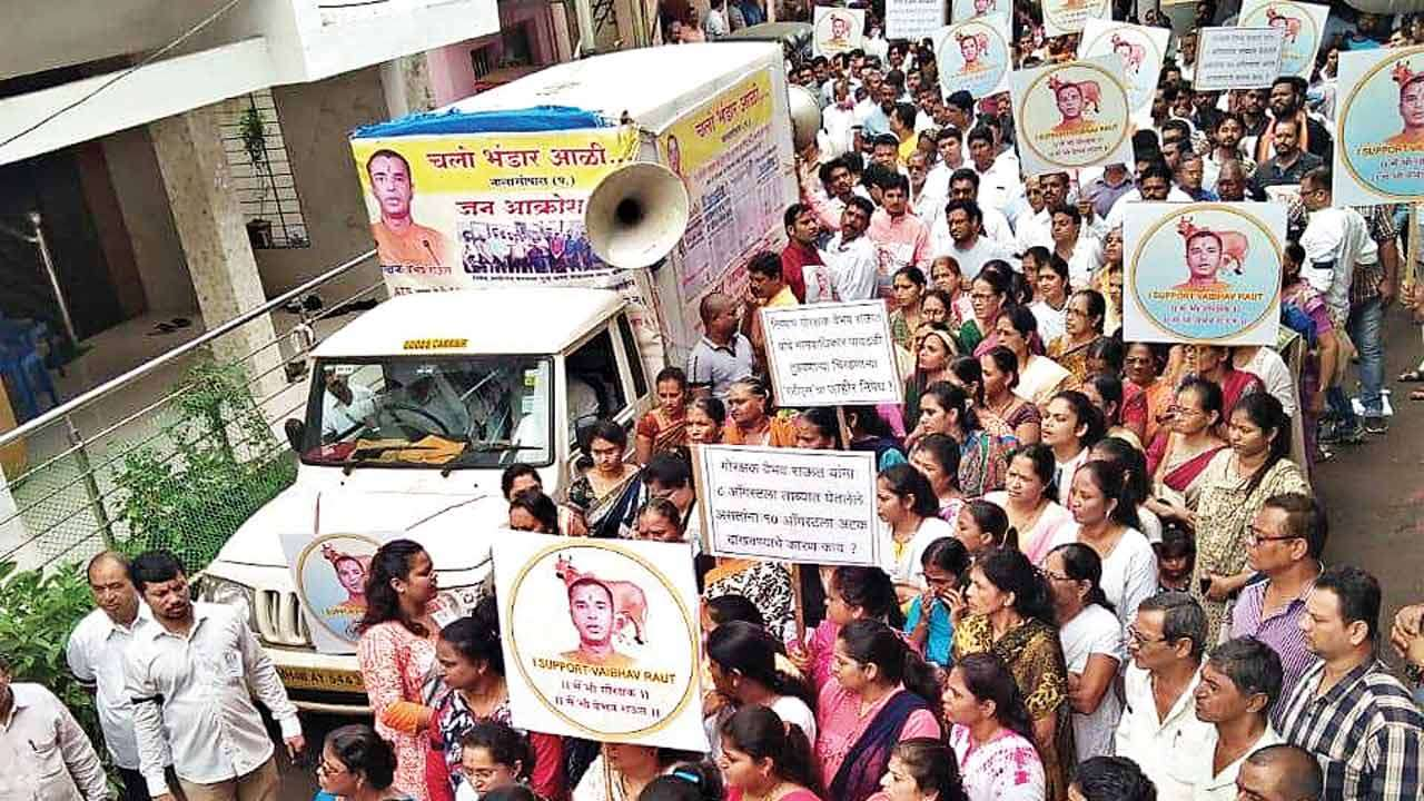 3000 people hold peaceful march at Nalasopara to protest Vaibhav Raut's arrest