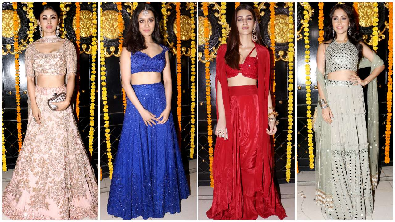 Mouni Roy, Shraddha Kapoor, Kriti Sanon and Nushrat Bharucha turned heads at the splendid Diwali bash at Ekta Kapoor's residence