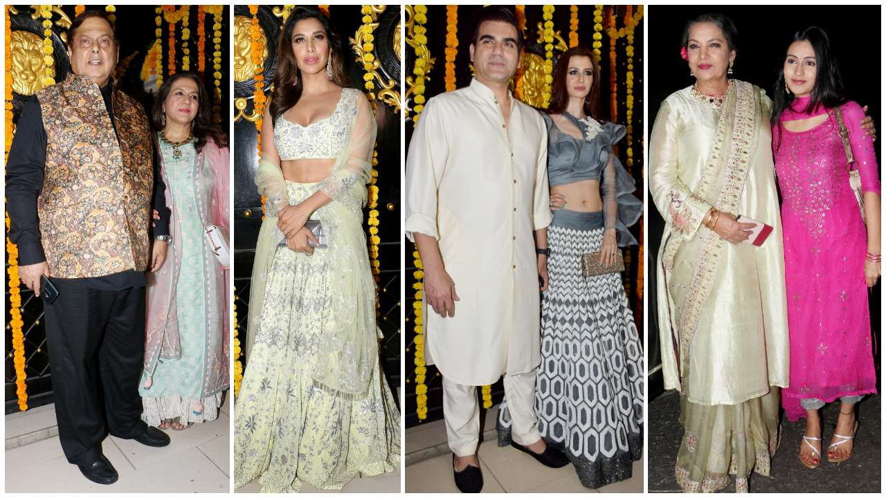 David Dhawan-Karuna Dhawan, Sophie Choudry, Arbaaz Khan-Georgia Andriani, Shabana Azmi arrive for the party