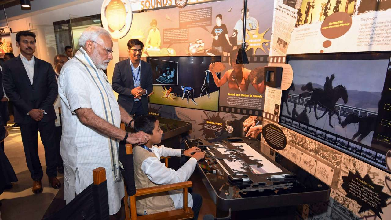 Image result for pm modi at cinema museum