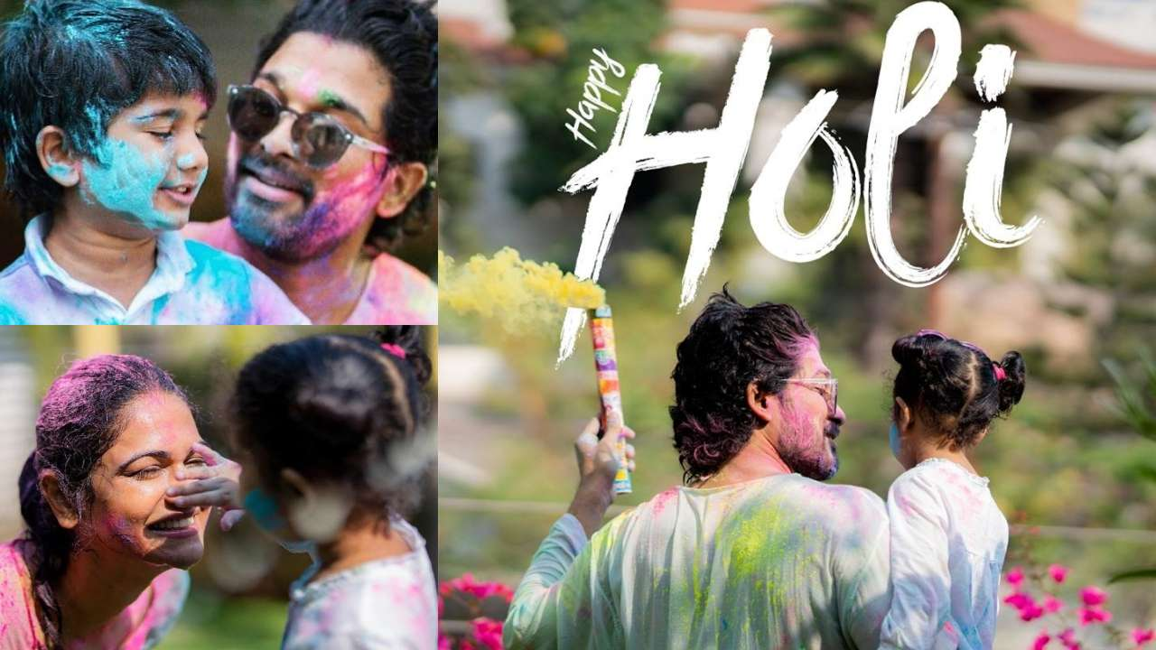 In Pics: Allu Arjun's Holi celebrations look straight out of