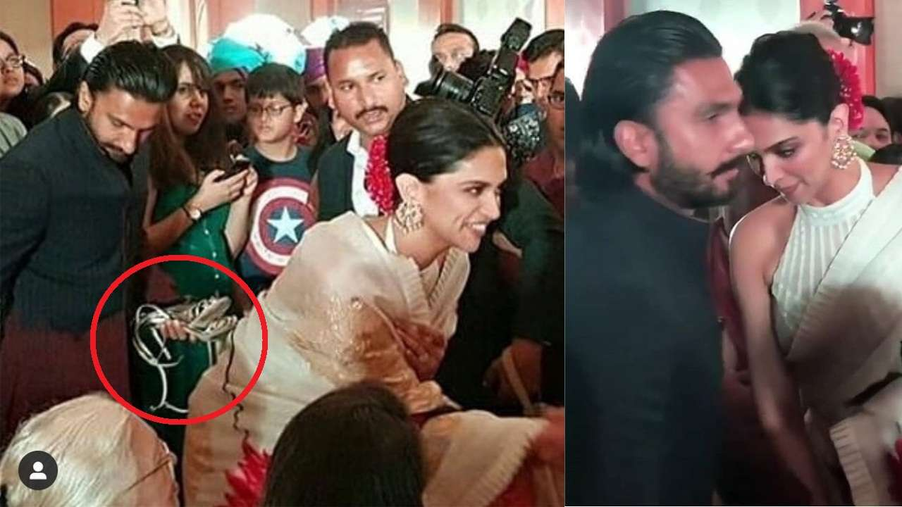 Fans let out collective 'aww' as pictures of Ranveer Singh holding wife Deepika Padukone's heels at a wedding