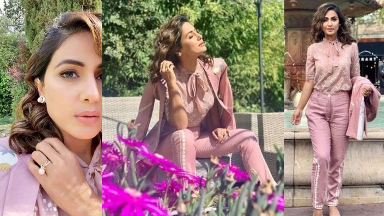 Cannes 2019 Day 1: Hina Khan sashays down the streets of French Riviera in a pink power suit by Sahil Kochhar