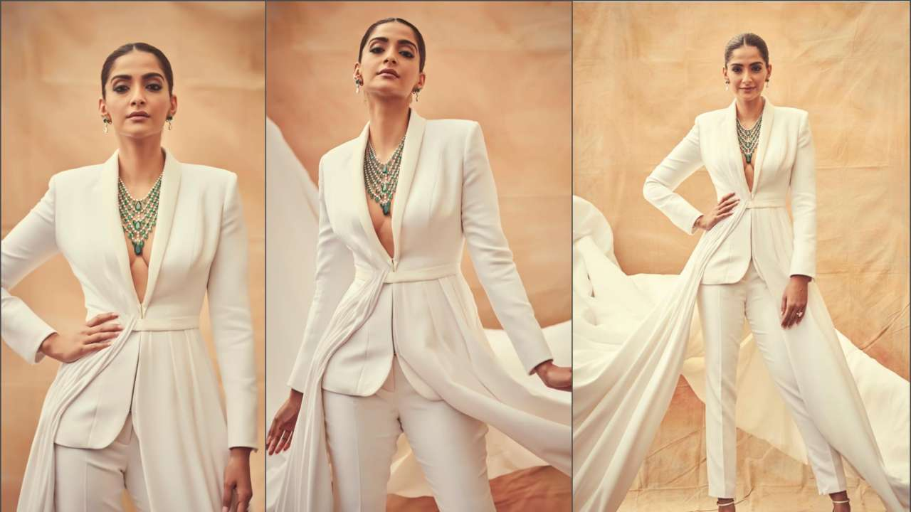 Sonam Kapoor ends Cannes 2019 with a bang! Rocks the red carpet in a custom white Ralph & Russo couture tuxedo, PICS