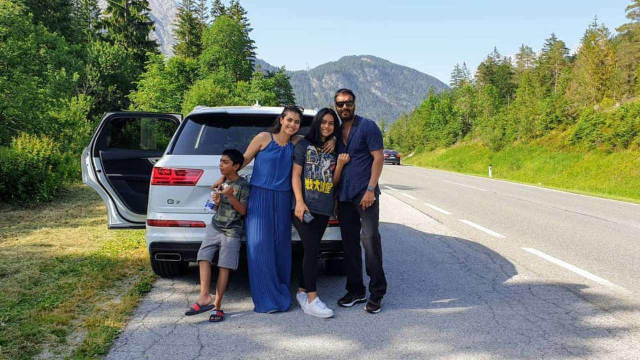 Picture Perfect Family! Ajay Devgn and Kajol finally go on a road trip with kids Nysa and Yug