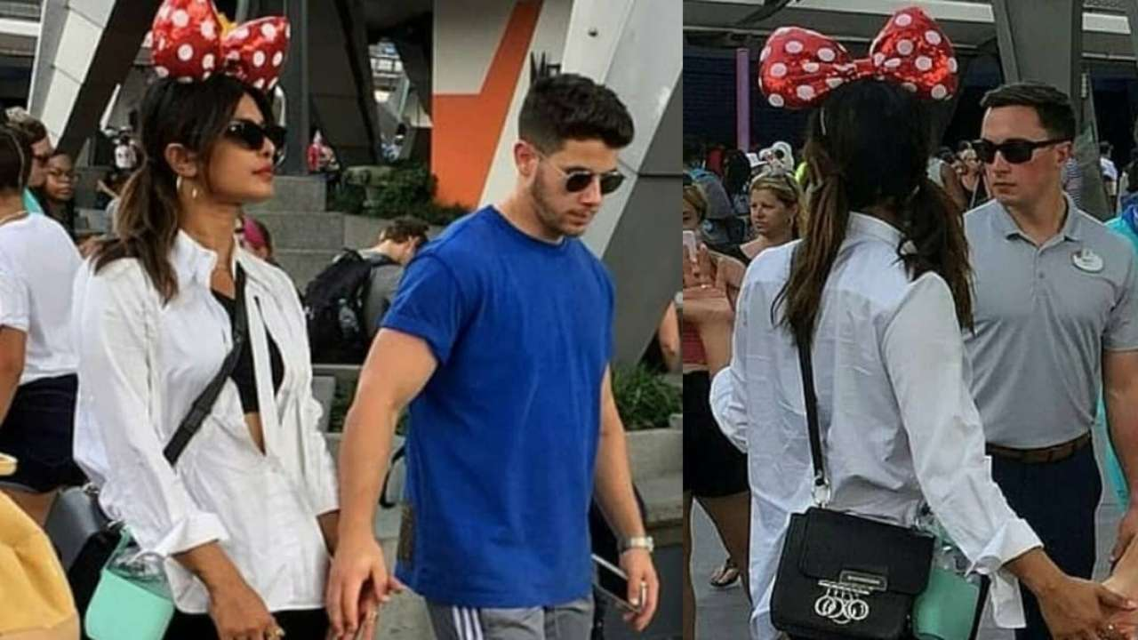 Photos: Priyanka Chopra embraces baby within her wearing minnie mouse headband for Disneyland tour with hubby Nick Jonas