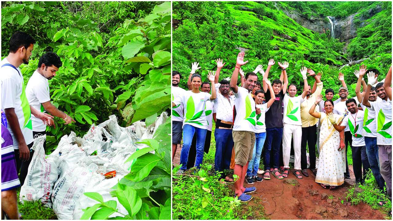 1,050 kg trash collected from Vadap-Karjat waterfall area