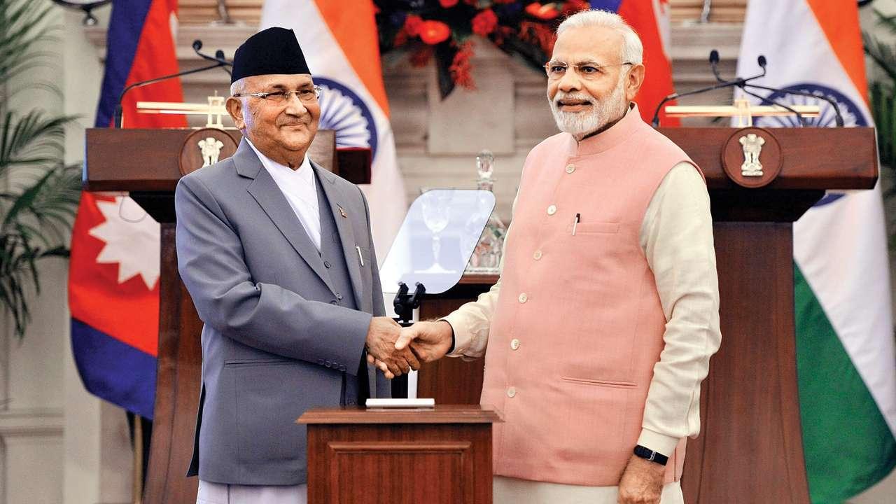 PM Modi and Nepalese PM KP Sharma Oli