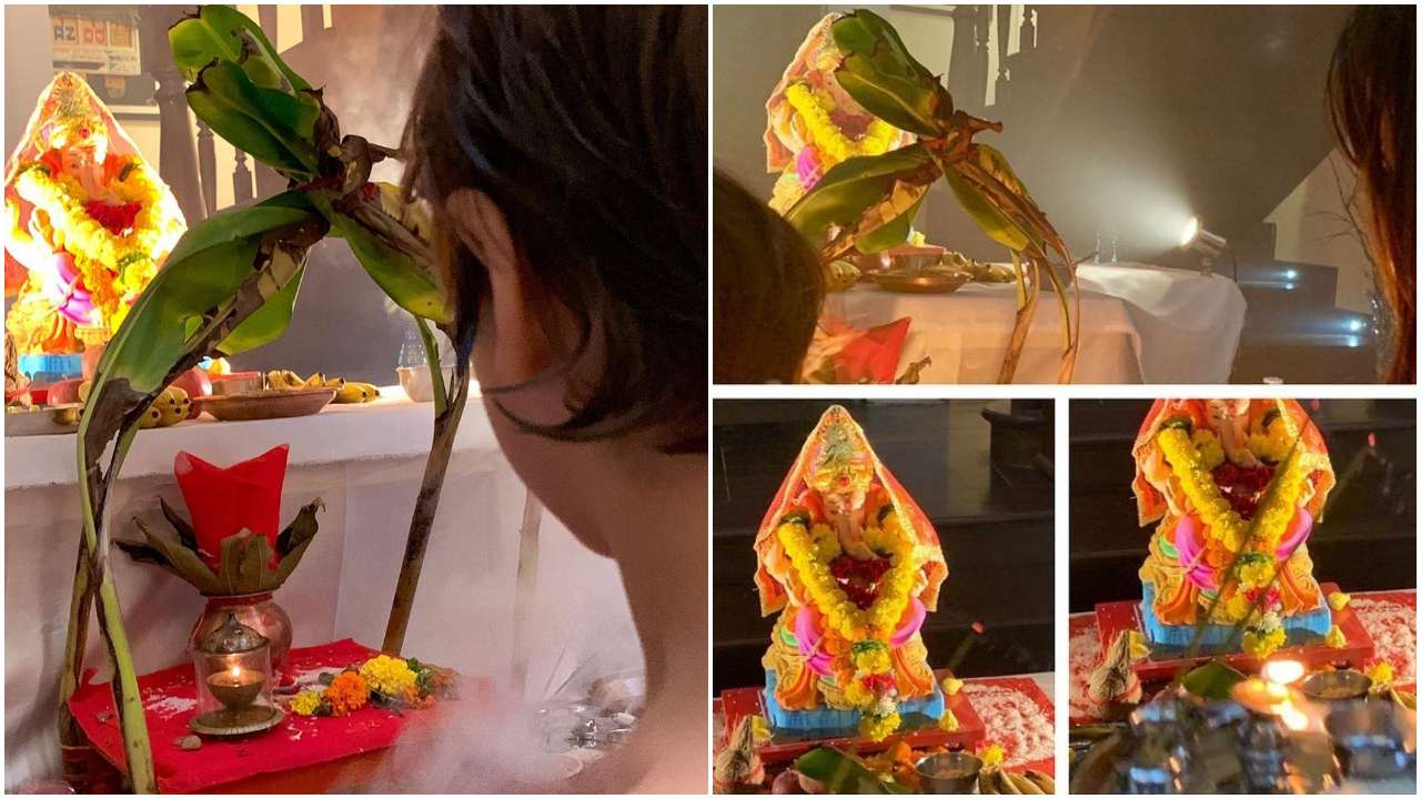 Photos: Shah Rukh Khan with Gauri Khan and AbRam Khan bid adieu to Ganpati Bappa