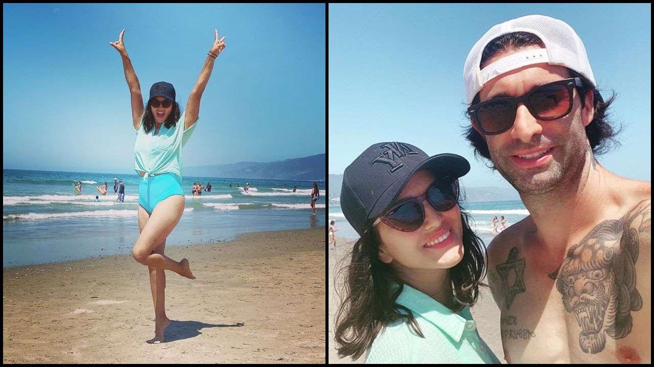 Sunny Leone practices social distancing in California beach