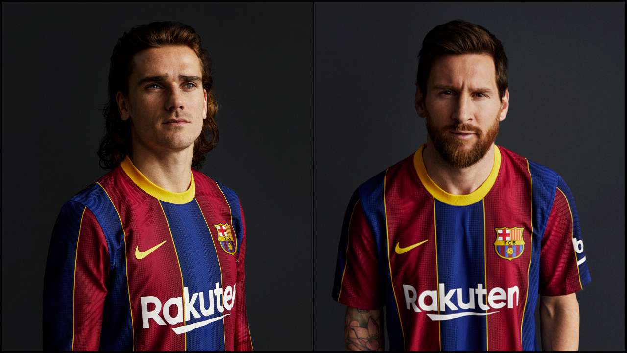 onlyforculers lionel messi antoine greizmanm and others show off barcelona s new 2020 21 kit lionel messi antoine greizmanm and
