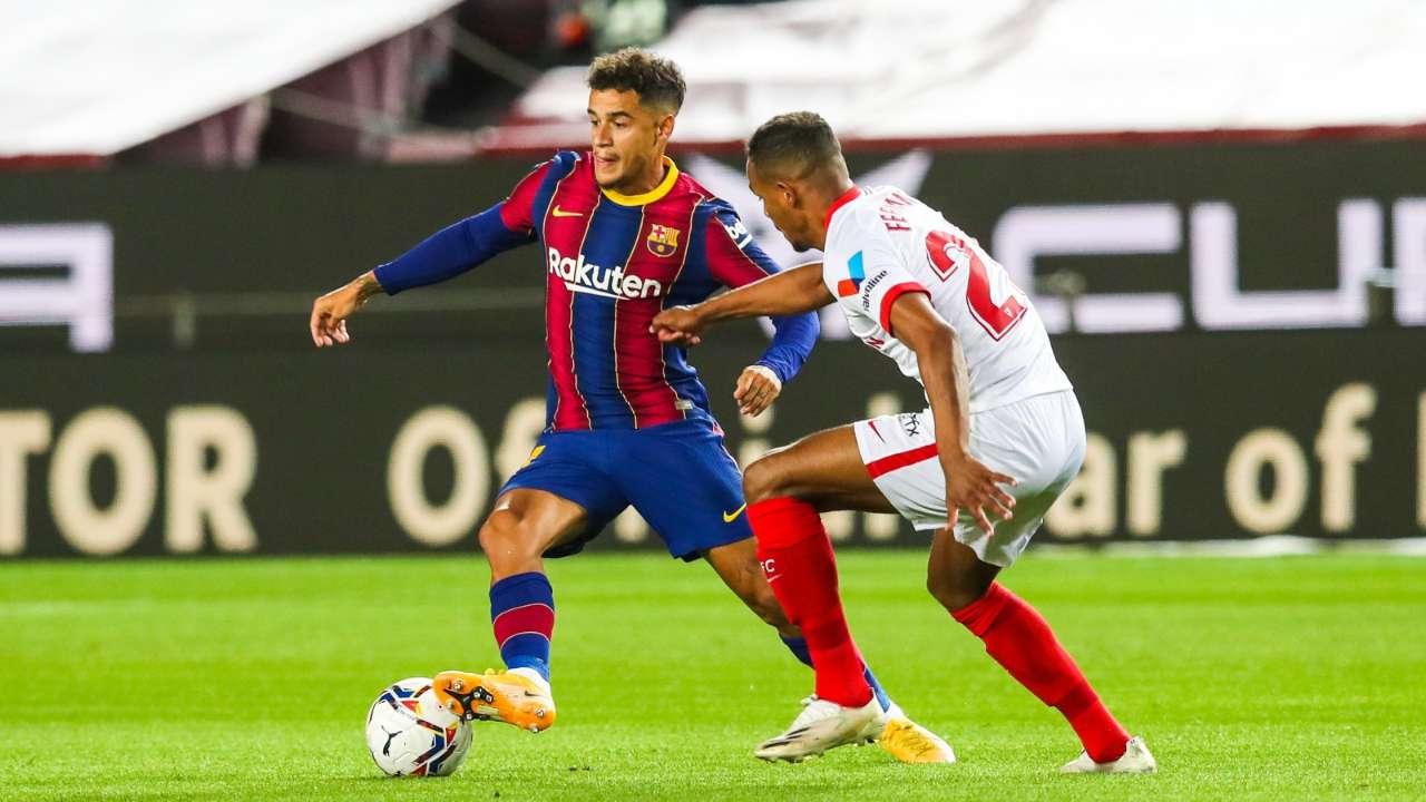 La Liga Barca Held By Sevilla Coutinho Scores After Returning To Fcb