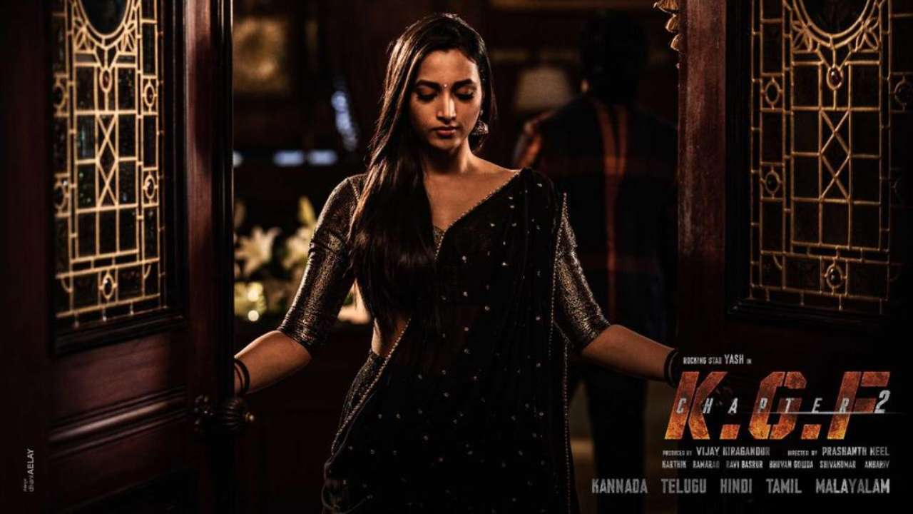 kgf chapter 2 birthday girl srinidhi shetty stuns in black as reena in her first look poster kgf chapter 2 birthday girl