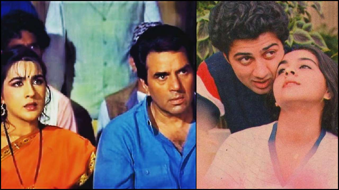 Amrita Singh with Dharmendra and Sunny Deol