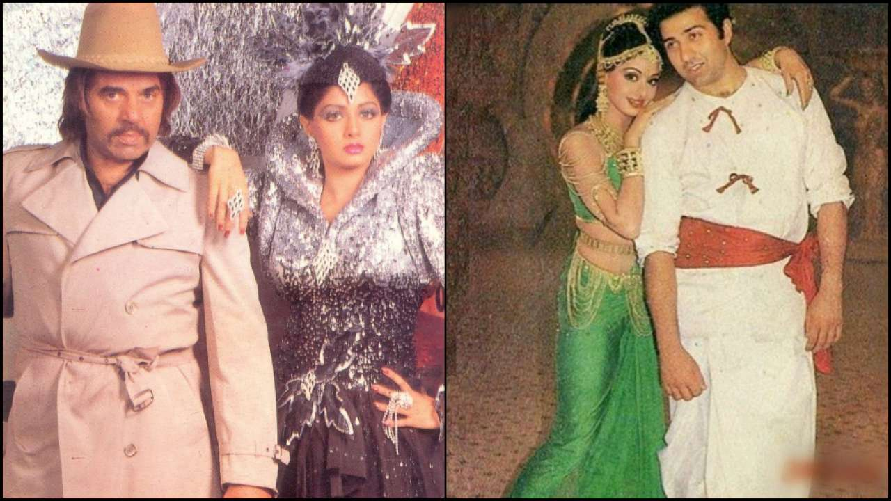 Sridevi with Dharmendra and Sunny Deol