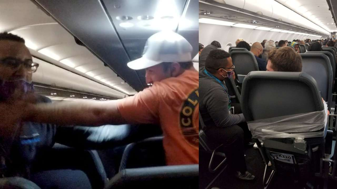 SHOCKING! Drunk passenger tied to seat with duct tape after allegedly groping flight attendants, watch video