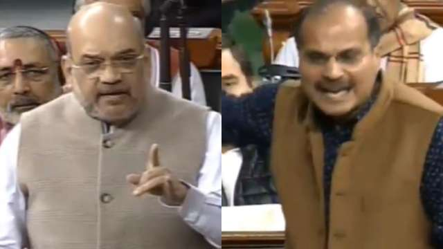 Home Minister Amit Shah and Congress leader Adhir Ranjan Chowdhury
