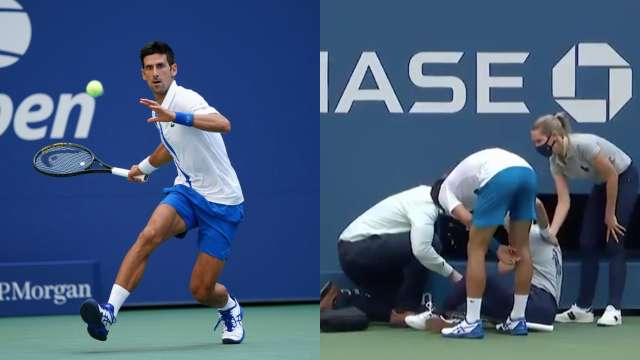 Djokovic Line Judge Video Djokovic Disqualified From Us Open After His Shot Hits Line Judge Watch Sports News
