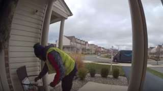 Video: Homeowner leaves gifts for Amazon delivery man & his reaction wi...