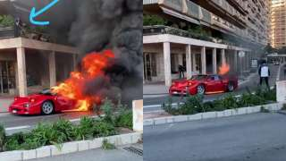 1.4-million dollar Ferrari F40 burns into ashes in Monaco & someone tri...