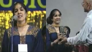 Old video of Neena Gupta's speech after receiving award from Amrish Pu...