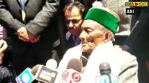 India's first voter Shyam Saran Negi casts his vote in Himachal Prades...