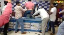 Watch Dalit body president attacked during presser in Hyderabad