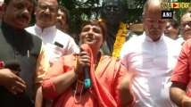 Sadhvi Pragya Thakur at BJP state headquarters in Bhopal after victory