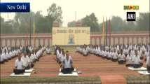 BSF personnel perform yoga at Chawala camp in Delhi