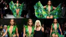 Versace Milan show: Jennifer Lopez wears her iconic plunging jungle-th...