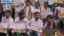 Congress stage protest against BJP over proposing to give Bharat Ratna to V...