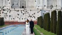 President Donald Trump and First Lady Melania Trump tour the Taj Mahal in Agra on Monday, February 24