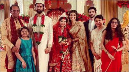 Sushmita Sen and family with the newly weds